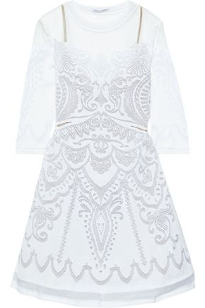 ALBERTA FERRETTI Tulle-paneled burnout stretch-knit mini dress