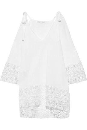 ALBERTA FERRETTI Cold-shoulder guipure lace-paneled knitted top