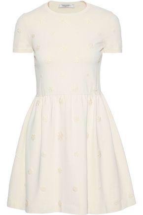 VALENTINO Flared floral-appliquéd ponte mini dress