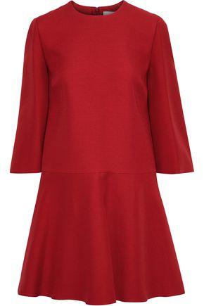 VALENTINO Flared wool and silk-blend mini dress
