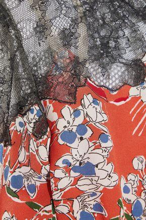 VALENTINO Chantilly lace-paneled floral-print silk crepe de chine mini dress