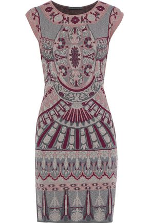 ALBERTA FERRETTI Metallic jacquard-knit mini dress