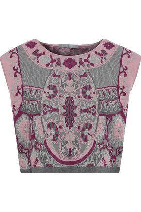 ALBERTA FERRETTI Cropped metallic jacquard-knit top