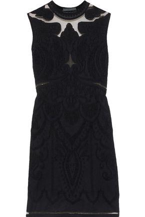 ALBERTA FERRETTI Tulle-paneled jacquard-knit mini dress