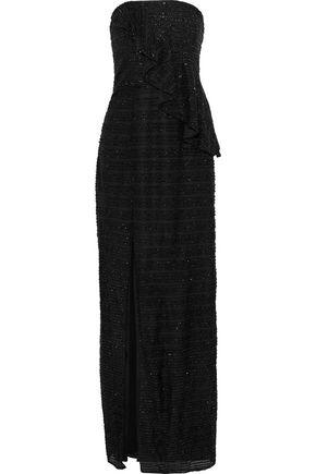 HALSTON HERITAGE Strapless crochet-trimmed tinsel peplum gown