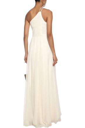 HALSTON HERITAGE One-shoulder pintucked metallic georgette gown