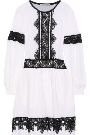 ALBERTA FERRETTI Crochet-trimmed wool mini dress