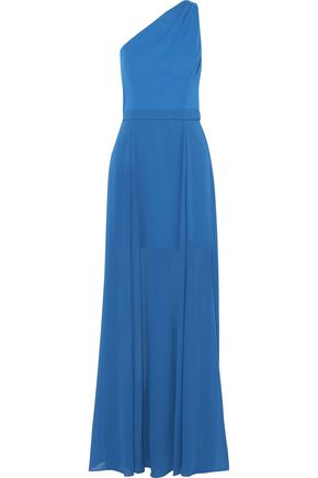 HALSTON HERITAGE One-shoulder cady-paneled chiffon gown