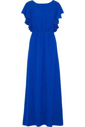 HALSTON HERITAGE Ruffled gathered gauze gown