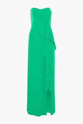HALSTON HERITAGE Strapless draped crepe de chine gown