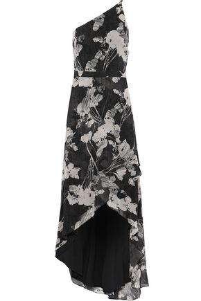 HALSTON HERITAGE One-shoulder printed chiffon gown
