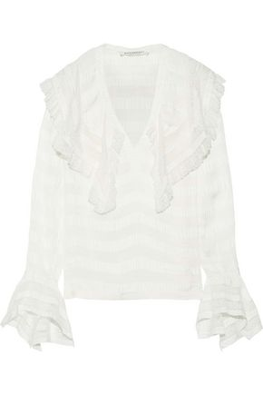 PHILOSOPHY di LORENZO SERAFINI Lace-trimmed ruffled striped crepe de chine blouse