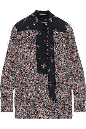 PHILOSOPHY di LORENZO SERAFINI Tie-neck floral-print washed-crepe top