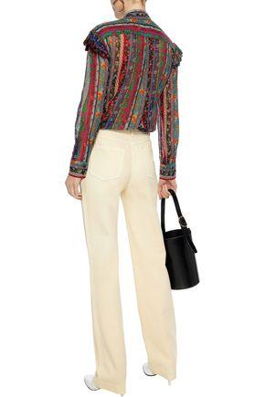 PHILOSOPHY di LORENZO SERAFINI Pussy-bow ruffle-trimmed printed silk-chiffon blouse