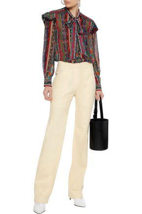 26333c7072727d PHILOSOPHY di LORENZO SERAFINI Pussy-bow ruffle-trimmed printed silk-chiffon  blouse