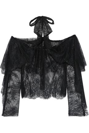 PHILOSOPHY di LORENZO SERAFINI Ruffled lace halterneck top
