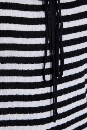 PHILOSOPHY di LORENZO SERAFINI Off-the-shoulder striped ribbed-knit top