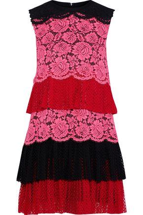 PHILOSOPHY di LORENZO SERAFINI Tiered pleated color-block lace mini dress