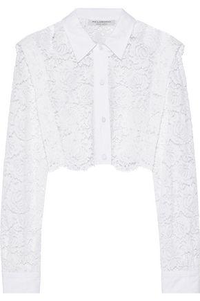 PHILOSOPHY di LORENZO SERAFINI Cropped poplin-trimmed cotton-blend corded lace shirt
