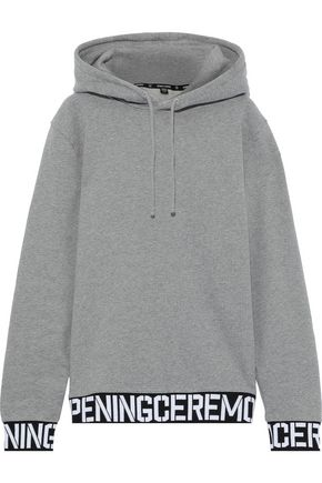 OPENING CEREMONY Jacquard-trimmed French cotton-terry hoodie