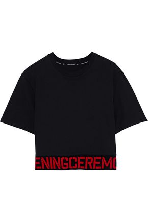 OPENING CEREMONY Cropped jacquard knit-trimmed cotton-jersey T-shirt