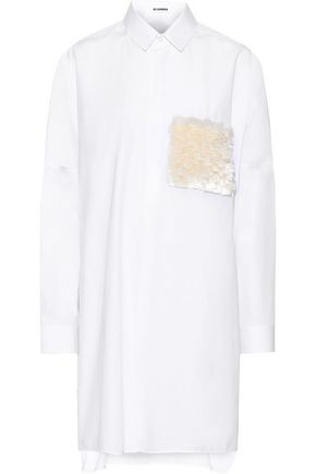 JIL SANDER Fringe-paneled cotton-poplin tunic