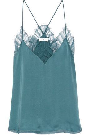 IRO Berwyn tulle-trimmed silk-charmeuse camisole