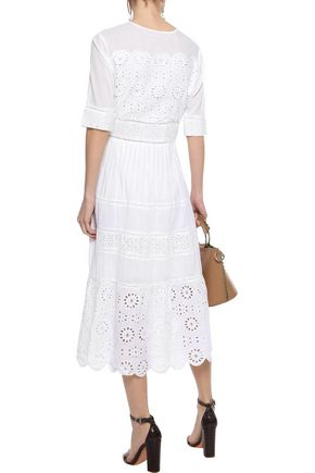 W118 by WALTER BAKER Dwain scalloped broderie anglaise cotton midi dress