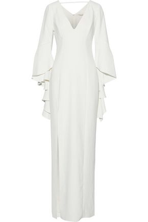 HALSTON HERITAGE Ruffle-trimmed crepe gown