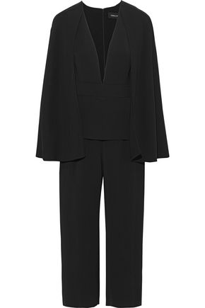 CUSHNIE Scarlett cropped cape-effect cady jumpsuit