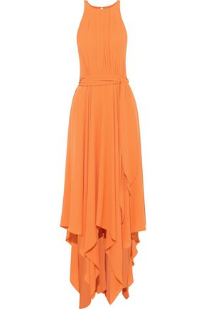 HALSTON HERITAGE Belted cutout crepe gown