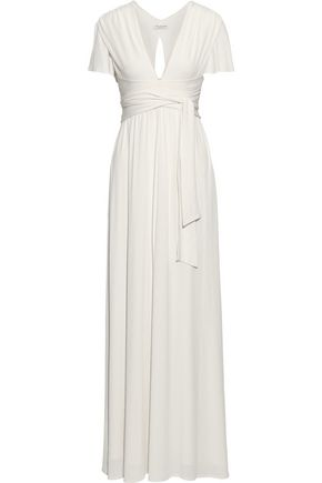 HALSTON HERITAGE Tie-front cutout stretch-jersey gown