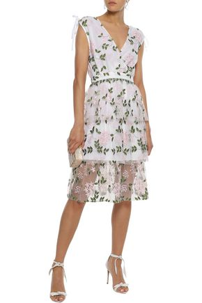 W118 by WALTER BAKER Wrap-effect tiered embroidered tulle dress