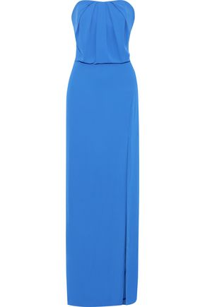 HALSTON HERITAGE Strapless split-front crepe gown