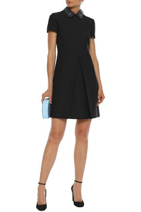 VALENTINO Studded leather-trimmed wool and silk-blend mini dress