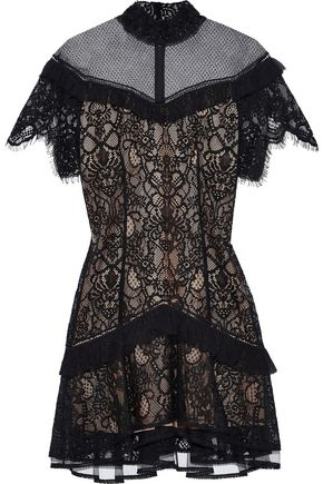 Ruffle Trimmed Lace Mini Dress by Jonathan Simkhai