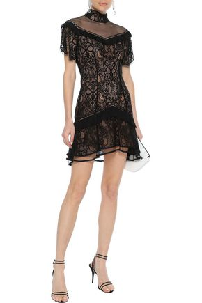 JONATHAN SIMKHAI Mesh-paneled ruffled lace mini dress