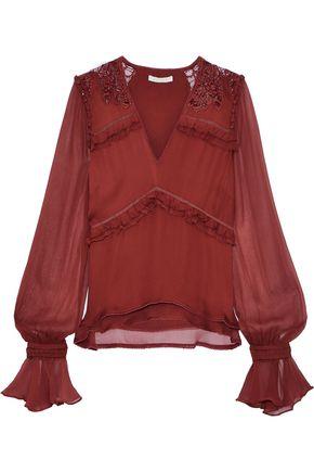 JONATHAN SIMKHAI Gauze-paneled silk crepe de chine blouse