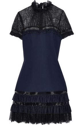 JONATHAN SIMKHAI Ruffled tulle-trimmed lace and crepe mini dress