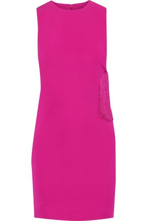 CUSHNIE Fringe-trimmed cutout cady mini dress
