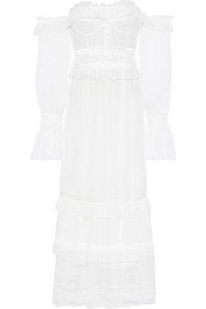JONATHAN SIMKHAI Off-the-shoulder lace-paneled silk-georgette maxi dress