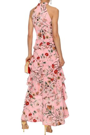 BADGLEY MISCHKA Asymmetric ruffled floral-print washed-crepe gown