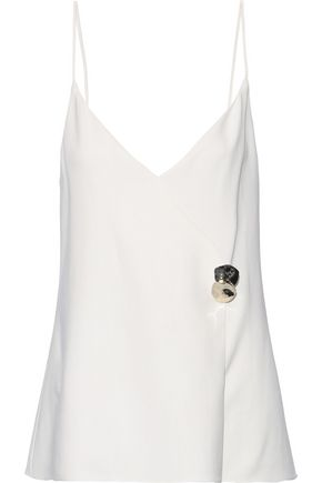 CUSHNIE Sandrina button-embellished stretch-crepe camisole
