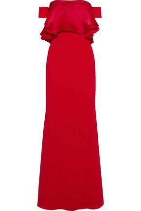 BADGLEY MISCHKA Off-the-shoulder layered silk-organza and crepe gown