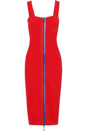 CUSHNIE Grosgrain-trimmed cady midi dress