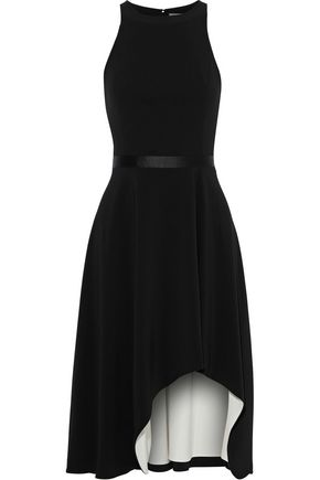 Asymmetric Satin Trimmed Crepe Dress by Halston Heritage
