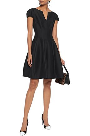 Halston Heritage Flared Cotton And Silk-blend Dress In Black