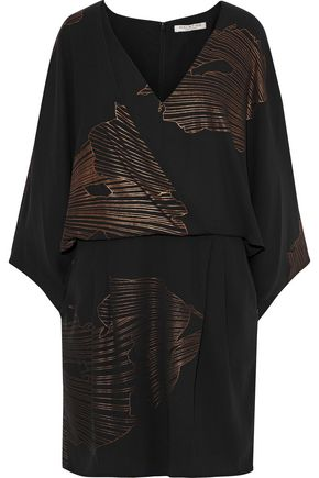 HALSTON HERITAGE Wrap-effect metallic printed crepe dress