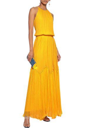 HALSTON HERITAGE Ruffle-trimmed plissé poplin gown