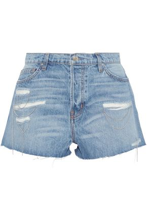 IRO Gacily chain-embellished distressed denim shorts
